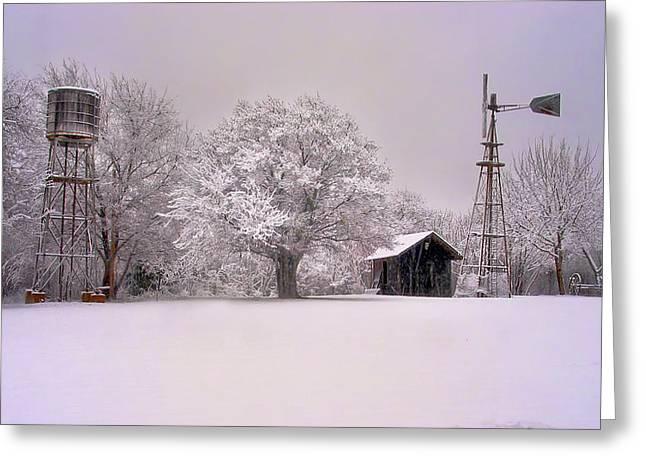 Snow On The Farm Greeting Card by David and Carol Kelly