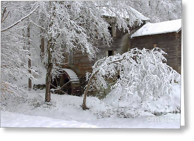 Grist Mill Greeting Cards - Snow on the Mill Greeting Card by Benanne Stiens