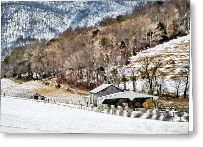 Barn Yard Greeting Cards - Snow On The Mountain Greeting Card by Kathy Jennings
