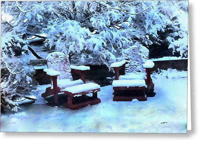 Anthony J. Caruso Greeting Cards - Snow on the Patio Greeting Card by Anthony Caruso