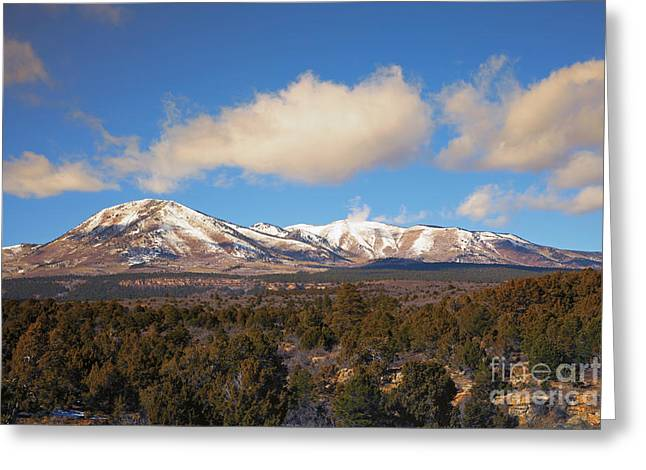 Fresh Snow Greeting Cards - Snow on the Peaks Greeting Card by Mike Dawson