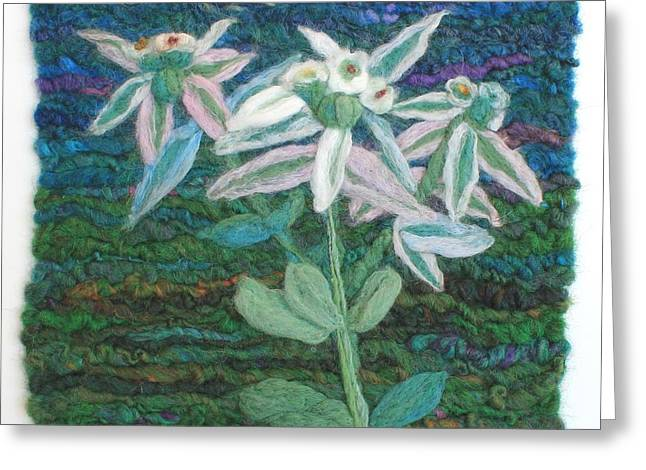 Wet Tapestries - Textiles Greeting Cards - Snow on the Prairie Flower Greeting Card by Michelle Bowers