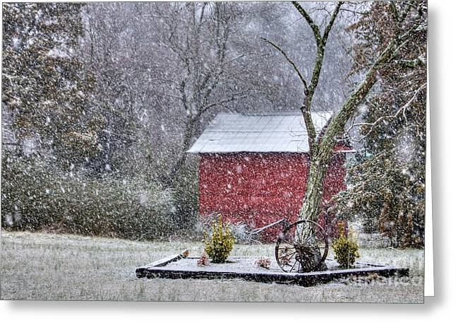 Barn Covered In Snow Greeting Cards - Snow on the Shed Greeting Card by Benanne Stiens