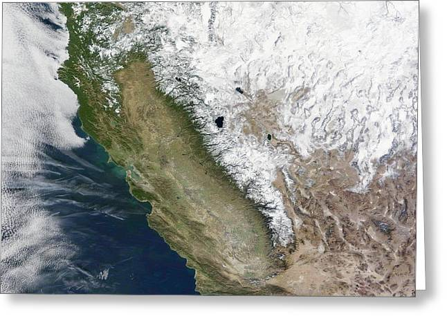 Snow On The Sierra Nevada Greeting Card by Nasa