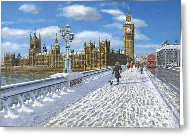 Clocktower Greeting Cards - Snow on Westminster Bridge Greeting Card by MGL Meiklejohn Graphics Licensing