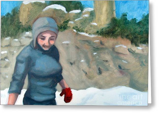 Girl In Snow Greeting Cards - Snow on Windy Point Greeting Card by Whitney Morton