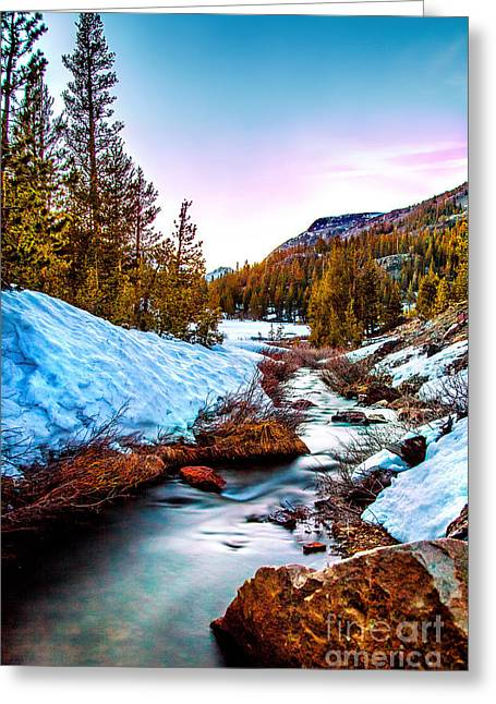 Glowing Water Greeting Cards - Snow Paradise Greeting Card by Az Jackson