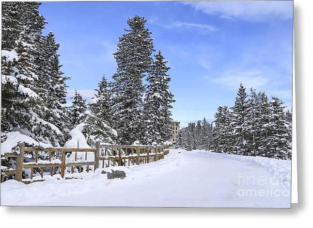 Banff Greeting Cards - Snow Path Greeting Card by Evelina Kremsdorf