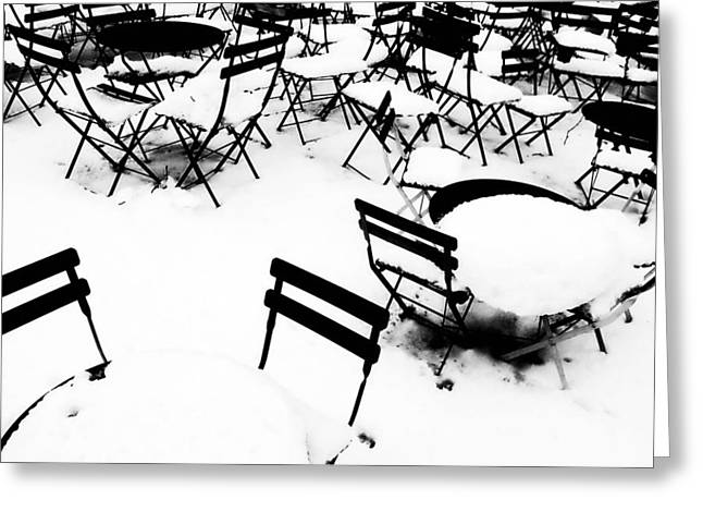 Table And Chairs Photographs Greeting Cards - Snow Picnic Greeting Card by Diana Angstadt