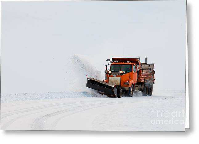 Working Conditions Greeting Cards - Snow plough clearing road in winter storm blizzard Greeting Card by Stephan Pietzko