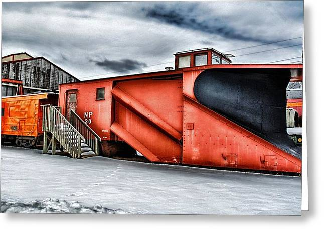 Historic Vehicle Mixed Media Greeting Cards - Snow Plow Greeting Card by Todd and candice Dailey