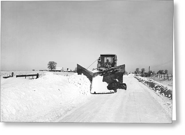 Blizzard Scenes Greeting Cards - Snow Plow Clearing Roads Greeting Card by Underwood Archives