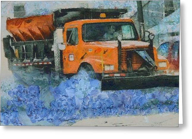 Snowstorm Greeting Cards - Snow Plow Greeting Card by Dan Sproul