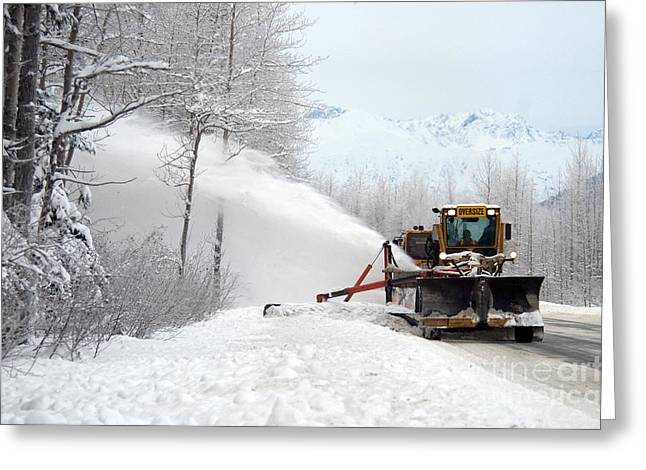 Snow Plow Greeting Card by Mark Newman