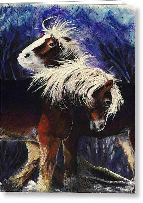 Windy Pastels Greeting Cards - Snow Ponies Greeting Card by Brenda Salamone