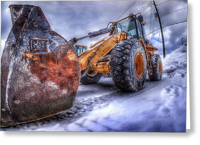 Front End Loader Greeting Cards - Snow Pusher Greeting Card by Lliem Seven