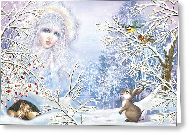 Seasonal Digital Art Greeting Cards - Snow Queen Greeting Card by Zorina Baldescu
