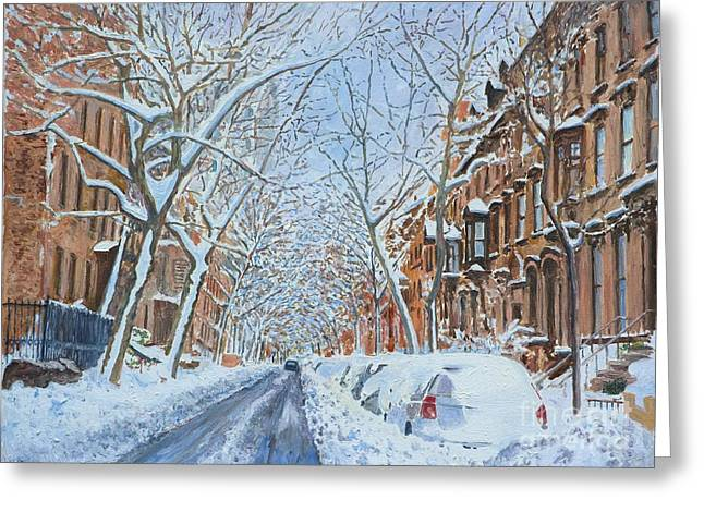 Suburbia Greeting Cards - Snow Remsen St. Brooklyn New York Greeting Card by Anthony Butera