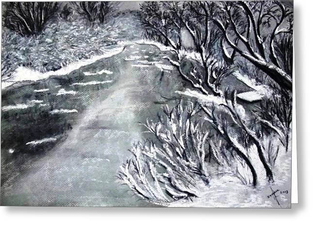 Snow Tree Prints Pastels Greeting Cards - Snow River Greeting Card by Igor Kotnik