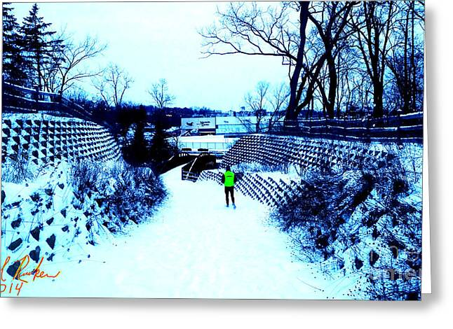 Runner Greeting Cards - Snow Runner Greeting Card by Michael Rucker