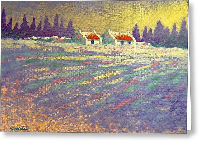 Christmas Greeting Greeting Cards - Snow Scape County Wicklow Greeting Card by John  Nolan
