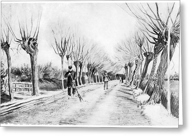 Snow Scene at Etten Greeting Card by Vincent van Gogh