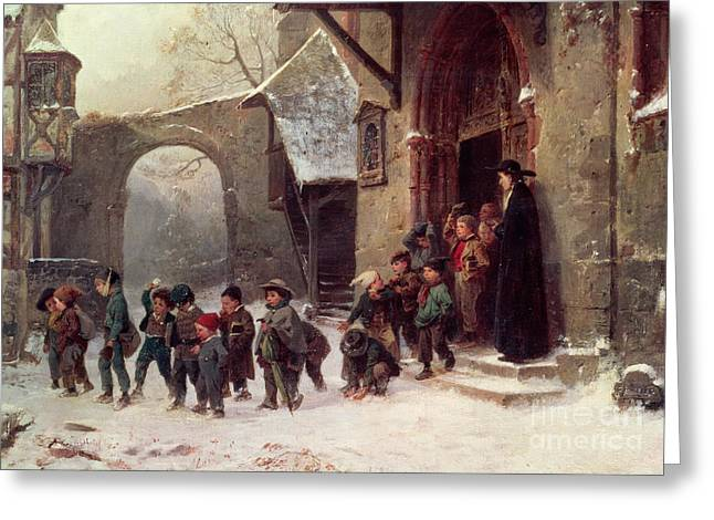Matron Greeting Cards - Snow Scene  Children Leaving School Greeting Card by Marc Louis Benjamin Vautier