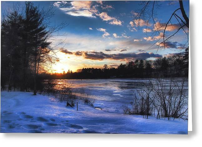 New England Snow Scene Greeting Cards - Snow Scene Holiday Card 3 Greeting Card by Joann Vitali