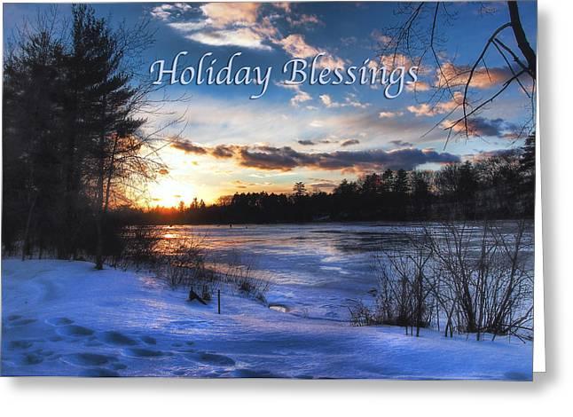 New England Snow Scene Greeting Cards - Snow Scene Holiday Card Greeting Card by Joann Vitali