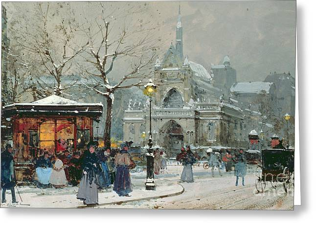 Parisian Greeting Cards - Snow Scene in Paris Greeting Card by Eugene Galien-Laloue