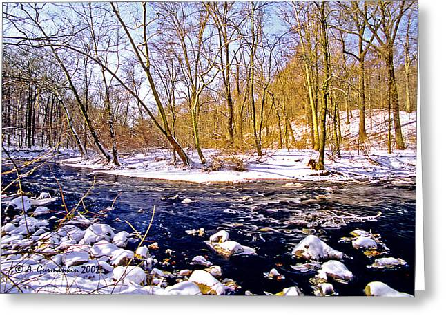 Greeting Card featuring the photograph Snow Scene Pennsylvania Woodland Stream by A Gurmankin