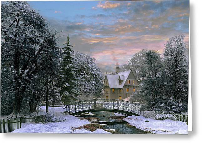 Stream Digital Art Greeting Cards - Snow Scene Sunset Greeting Card by Dominic Davison