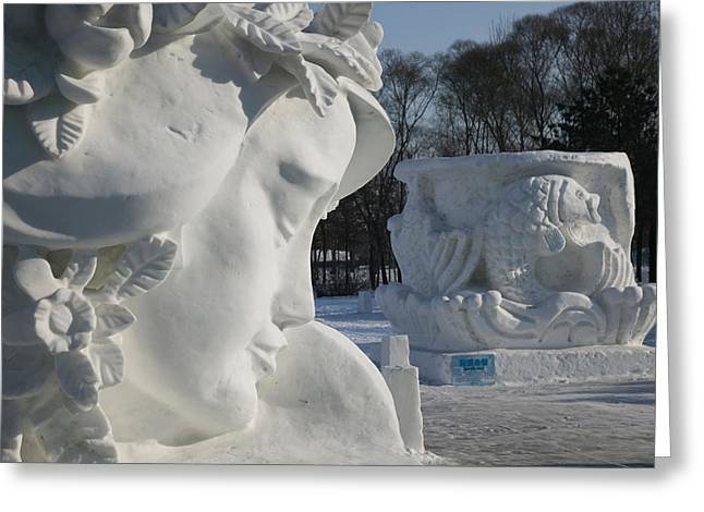 Sculpture Art Greeting Cards - Snow Sculptures At Harbin International Greeting Card by Panoramic Images