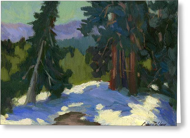 Ponderosa Greeting Cards - Snow Shadows Mammoth Mountain Greeting Card by Diane McClary