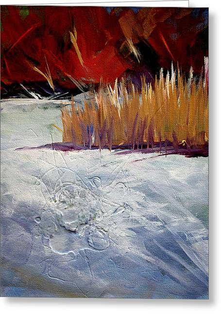 Nature Scene Paintings Greeting Cards - Snow Shadows Greeting Card by Nancy Merkle