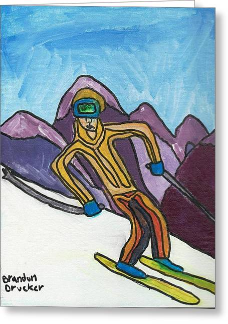 Brandon Drucker Greeting Cards - Snow Skier Greeting Card by Brandon Drucker