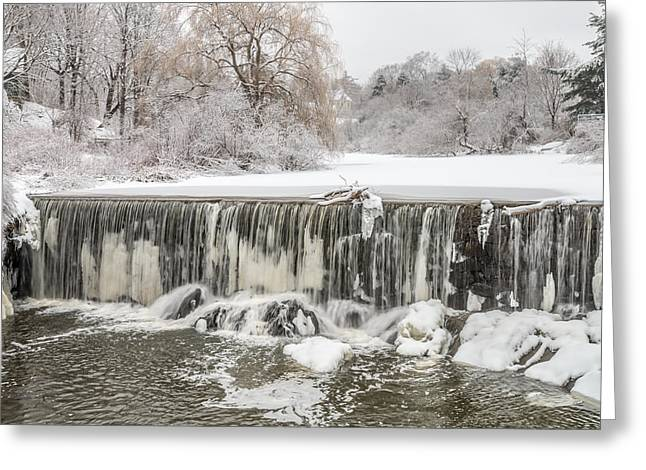 Snow Sleet And Freezing Rain On The Falls Greeting Card by Stroudwater Falls Photography