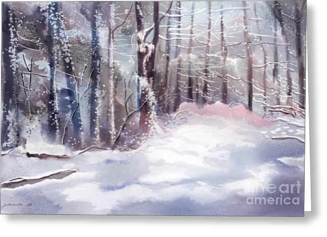 Joan A Hamilton Greeting Cards - Snow Sparkled Woods Greeting Card by Joan A Hamilton