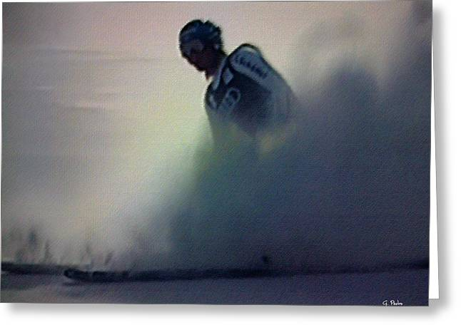 Athlete Pastels Greeting Cards - Snow Spray 6 Greeting Card by George Pedro
