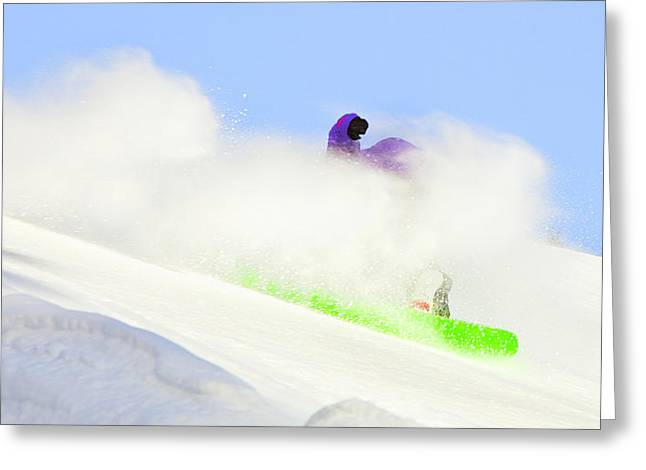 Ski Art Greeting Cards - Snow Spray Greeting Card by Theresa Tahara