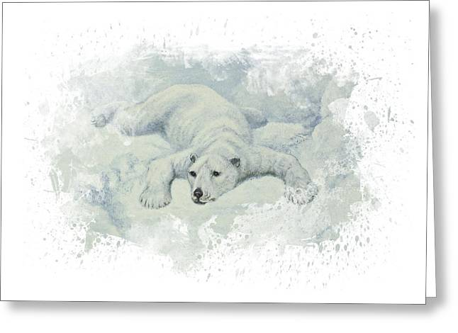 Polar Bears Greeting Cards - Snow Storm Greeting Card by Aged Pixel
