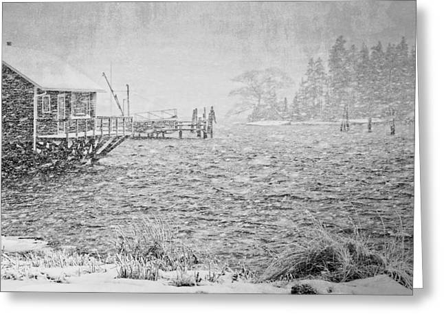 New England Ocean Digital Art Greeting Cards - Snow Storm in Bass Harbor on Mount Desert Island Maine Greeting Card by Keith Webber Jr