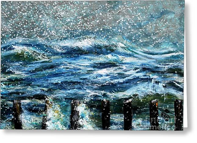 Duxbury Greeting Cards - Snow Storm on Duxbury Beach Greeting Card by Rita Brown