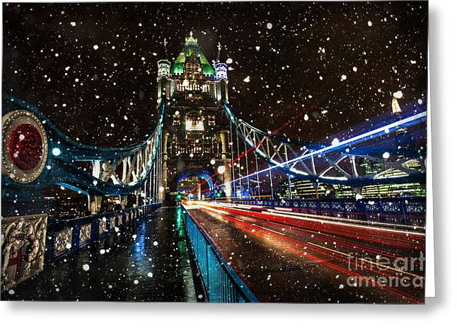 Snowy Night Digital Art Greeting Cards - Snow Storm Tower Bridge Greeting Card by Donald Davis