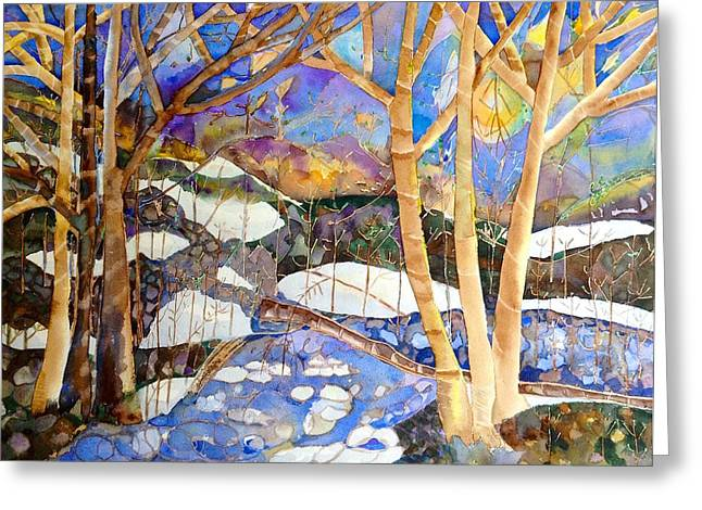Autumn Leaves Greeting Cards - Snow Stream Greeting Card by Autumn Leaves