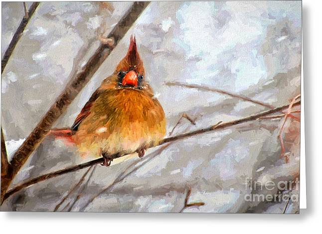 Snowstorm Digital Art Greeting Cards - Snow Surprise - Painterly Greeting Card by Lois Bryan