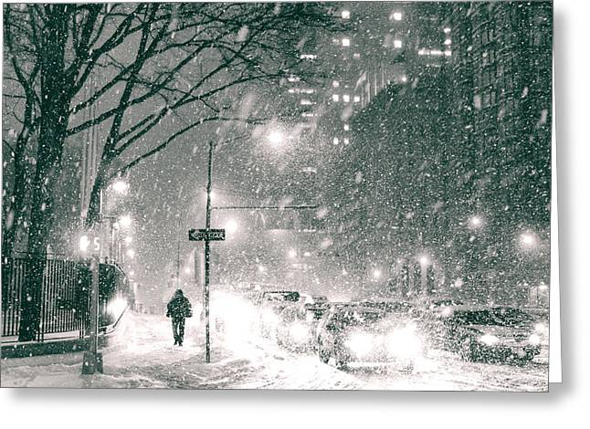 Snowy Night Night Greeting Cards - Snow Swirls at Night in New York City Greeting Card by Vivienne Gucwa