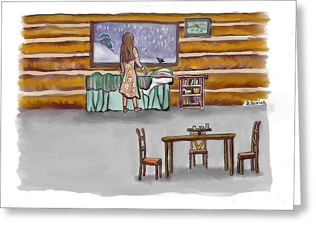 Log Cabin Art Pastels Greeting Cards - Snow Tang - story illustration 2 age 12 Greeting Card by Dawn Senior-Trask