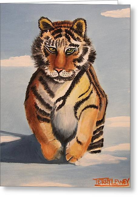 Syberian Greeting Cards - Snow Tiger Greeting Card by Terry Lewey