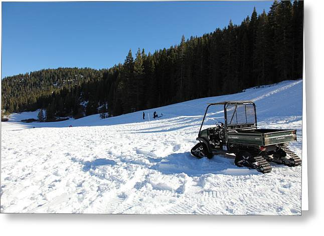 Snowmobile Greeting Cards - Snow Tractor at Squaw Valley USA 5D27628 Greeting Card by Wingsdomain Art and Photography